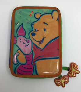 Vintage Disney Pooh /Piglet Pen Pencil Case Holder Bag Pouch Zip Dividers