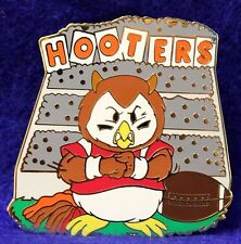 HOOTERS RESTAURANT HOOTIE/OWL BLEACHERS COLLEGE FOOTBALL LAPEL PIN (RED OUTFIT)