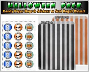 HALLOWEEN ORANGE & BLACK SWEET CANDY STRIPE PAPER BAGS & STICKERS, ⭐⭐⭐⭐