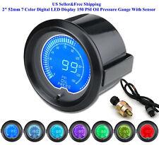 """2"""" 52mm 7 Color Digital Led Display 150 Psi Oil Pressure Gauge With Sensor Us"""
