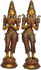 """Large Size Indian Celestial Apsara Welcome Lady Pair Flanking Temple Door 45"""""""