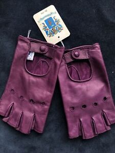 Portolano Women's Soft Genuine Leather Air Vent Fingerless Gloves purple S 7 NWT