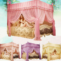 Thicken Encryption Mosquito Net4 Corner Bed Canopy Queen/ King /California King