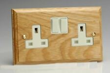 Varilight Kilnwood 2 Gang 13A Switched Socket Oak White Insert XK5OW