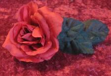 Handcrafted Gothic Red Rose,Black Leaves Barrette Hair Clip