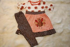 Girls Boutique Clothing Thanksgiving outfit set Baby Toddler  New