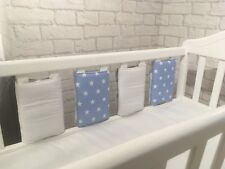 New Babies �� Powder Blue & White Stars Cot Bar Bumpers �� Pack Of 12