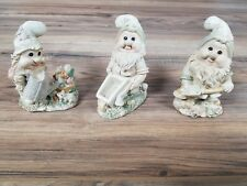 Set of 3 Handmade & Painted Smiling Cute Garden Gnomes figurines 5� tall by Swi.