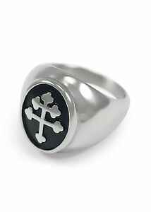 Magnum PI Cross of Lorraine Stainless Steel Ring Knights Templar Crusader NEW!