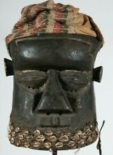 African Kuba Helmet Mask with cloth and fur hat