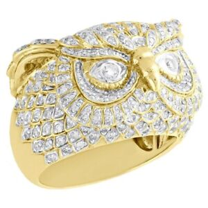 2.75 Ct Round Cut Diamond Owl Head Shape Band Animal Ring 14K Yellow Gold Over