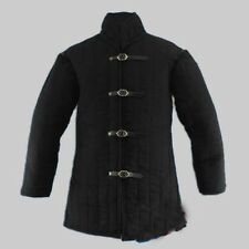 Black Thick Padded Medieval Gambeson Jacket Armor Costumes Dress Sca