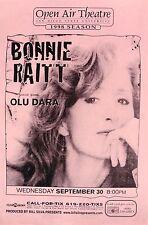 BONNIE RAITT / OLU DARA 1998 SAN DIEGO CONCERT TOUR POSTER AT OPEN AIR THEATRE