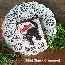 DECO Mini Wood Sign Caution Attack Cat Black Cat CHAT NOIR Gift Ornament USA NEW