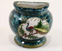 Oriental Japanese Asian evergreen color Ceramic half Vase wall w/ Peacocks Japan