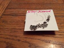 Betsey Johnson Pave Bow & Flower 5 Stud Earrings Set $35 Silver Tone # 307