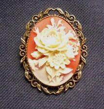 Broche Camafeo de Flor de Metal Tono Crema Naranja Bronce Resina 50 mm