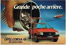 PUBLICITE ADVERTISING  1982   OPEL  CORSA   grande poche arriière  (2 pages)