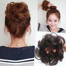 100% Human Hair Flexible Scrunchie Wrap For Wave Curly Hair Bun Ponytail Brown