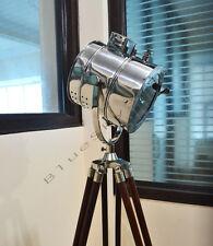 DESIGNER NAUTICAL TRIPOD FLOOR LAMP SEARCH LIGHT BROWN WOOD TRIPOD LAMP