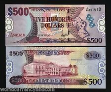 GUYANA 500 DOLLARS P34a 2000 UNC ACT.GOVERNOR SIGN MAP FLAG CANON MONEY BANKNOTE