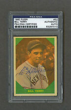 Bill Terry signed New York Giants 1960 Fleer baseball card Psa-Dna