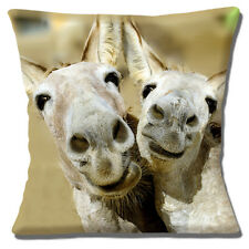 """Funny Novelty Kitsch Mules Donkeys Smiling Photo Print 16"""" Pillow Cushion Cover"""