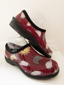 SLOGGERS Women Rain/Garden Shoes 6 Red w/Chicken Print Barn Farm Outdoor