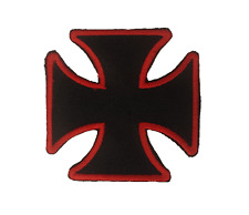 New Original CROSS Black & Red  Iron On/Sew On Patch Emo Goth Punk Rock Biker