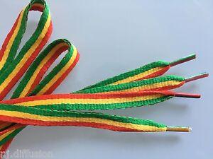 1 Paire de Lacets plats couleur Rasta Reggae !
