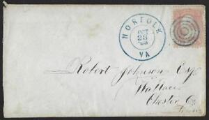 US 1863 CIVIL WAR COVER UNON OCCUPATION SUPERB NORFOLK VIA TARGET FANCY CANCEL