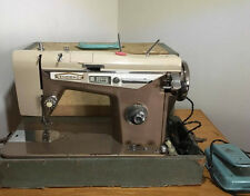 1960's Emdecko Sewing Machine with Foot Peddle and Case Space Age Style Zigzag