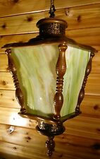 Vintage Swag Hanging Lamp 60s 70s Green Stained Glass Wood Bronze Large Light