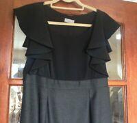 PER UNA M&S Ladies Stunning Black & Grey Heavy Dress Size14 Lined Knee Length