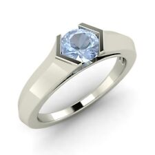 Natural Aquamarine Solitaire Engagement Ring 14k White Gold 0.40 Ct, Certified