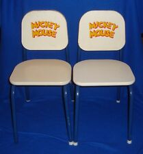 Rare Vintage Disney Set of 2 Mickey Mouse Children's Chairs Composite and Metal