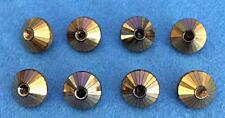 Vintage - 8 Cone Shape Black Glass Buttons with Metallic Copper Finish