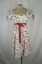 Betsey Johnson White/Red Cotton/Silk Floral Cap Sleeve Dress SZ 10 NWT
