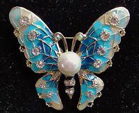 Lovely BUTTERFLY Pearl RHINESTONE Retro Vintage Blue Enamel Brooch