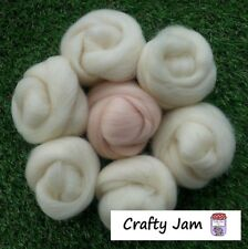 Needle Felting Natural White & Flesh Skin Pink Wool Rovings, 3D Animal Projects