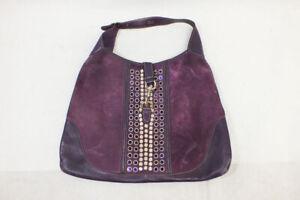 Vintage Gucci Large Purple Suede Studs Hobo Saddle Shoulder Bag Handbag Purse