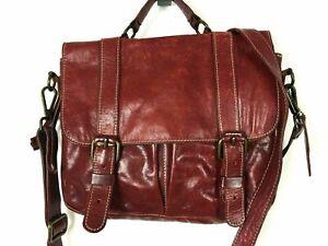 VTG ROOTS Burgundy Cherry Leather Satchel Shoulder Bag Purse School Bag