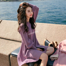 Korean Fashion Women Loose Casual Tunic Knit Cocktail Party Mini Sweater Dress