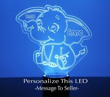 Elephant Night Light, Personalized Gift Engraved Free Baby's Room Led Night Lamp
