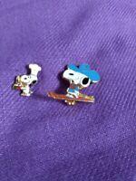Vintage Chef Snoopy Tie Tack Pin & Cowboy Snoopy Broach