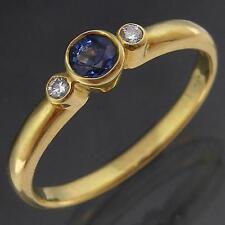Round Bezel Set Solid 18K YELLOW GOLD BLUE SAPPHIRE & 2 DIAMOND RING Sz O 1/2
