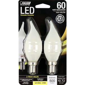 FEIT Electric 6 watts CA10 LED Bulb 500 lumens Soft White Decorative 60 Watt