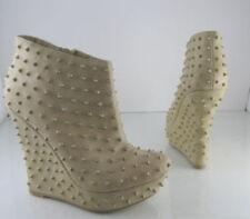 Botas de mujer plataformas beige de piel