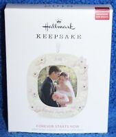 Hallmark Keepsake 2018 Forever Starts Now Wedding Porcelain Photo Ornament NIB