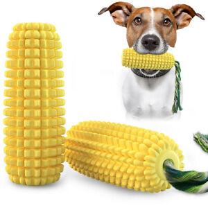 emPAWrium Dog Toothbrush Interactive TPR Squeak Chew Toy with Rope Corn